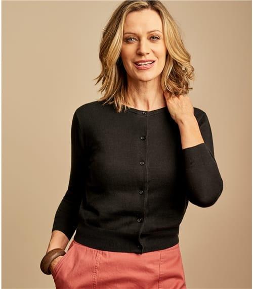 Kurz geschnittener Strickjacke mit 3/4-Ärmeln aus Seide und Baumwolle für Damen