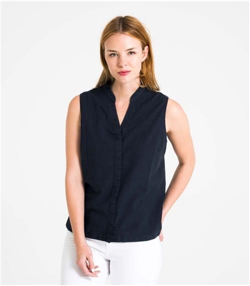 Womens Linen and Cotton Sleeveless Shirt