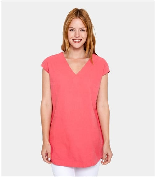 Womens Linen and Cotton V Neck Tunic
