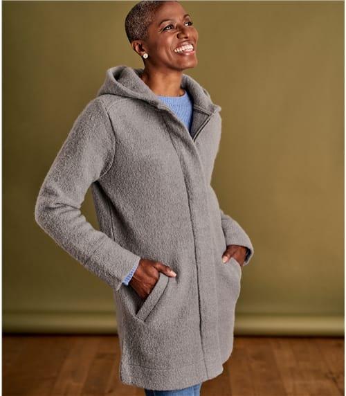 Coatigan mit Kapuze aus reiner Wolle für Damen
