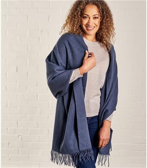 Fransenschal aus reiner Wolle für Damen