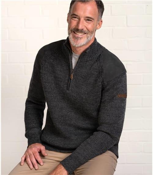 Hillwalker-Pullover mit kurzem Reißverschluss aus reiner Wolle für Herren