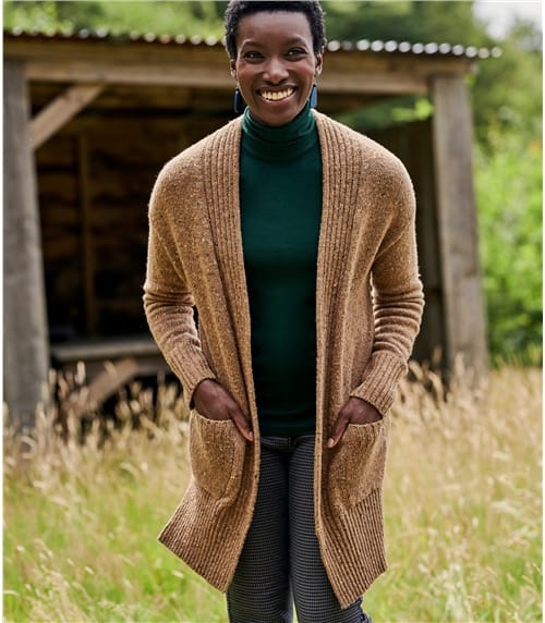 Cashmere Blend Tweedy Effect Edge To Edge Cardigan