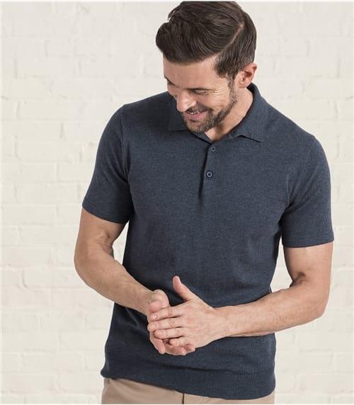Kurzärmliges Strick-Polohemd aus Baumwolle-Seide für Herren