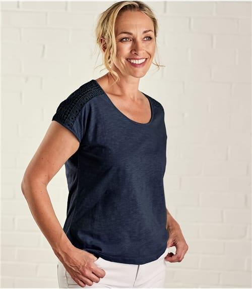 T-shirt à manches crochet - Femme - Pur Coton