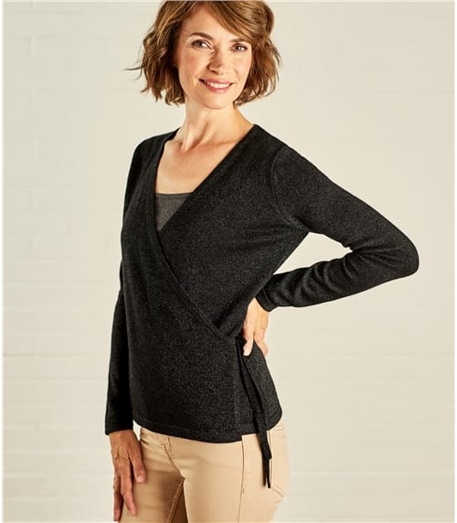 Womens Lurex Wrap Top