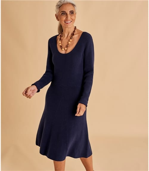 Womens A Line Wool Blend Dress