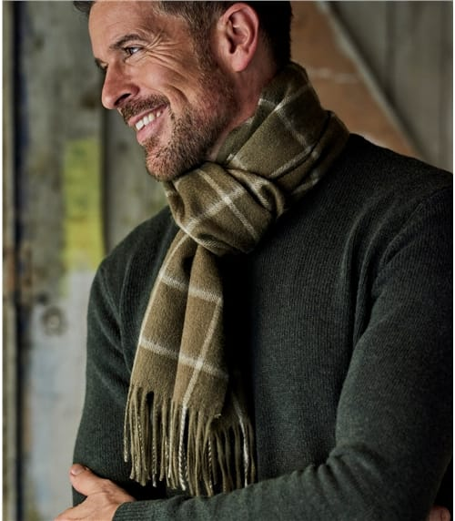 Mens Pure Wool Window Pane Scarf