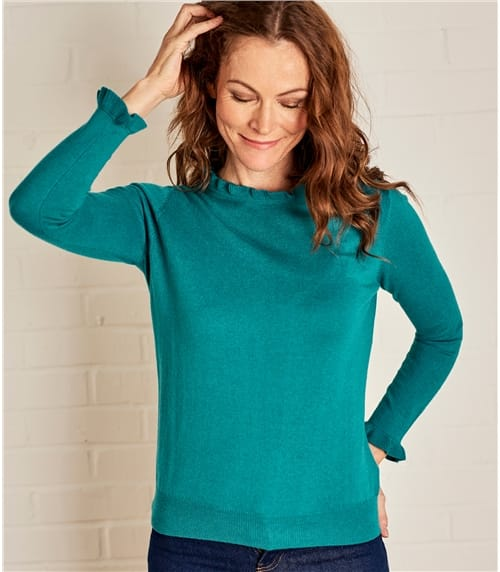 Womens Frill Neck Long Sleeve Jumper