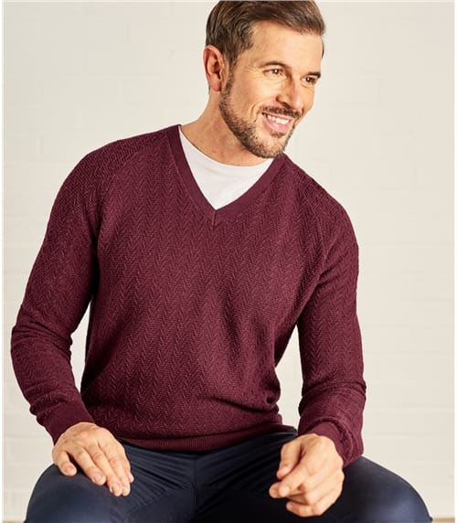 Mens Textured Stitch V Neck Jumper