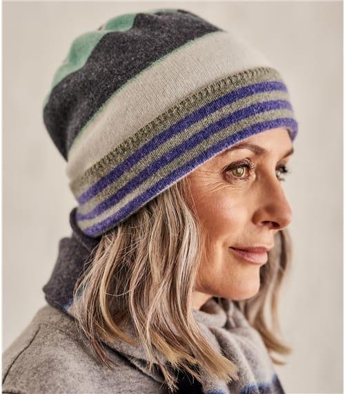 Womens Colourblock Stripe Beanie Hat