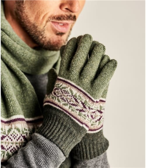 Mens Lambswool Fairisle Border Gloves