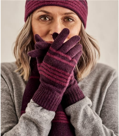 Womens Two Colour Stripe Gloves