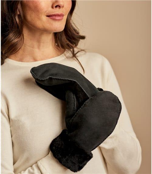 Fausthandschuh aus Schafleder mit Schaffell für Damen