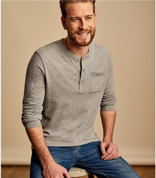 Mens Henley Button Long Sleeve T-shirt