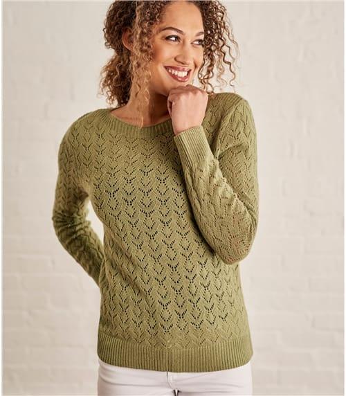 Pullover mit U-Boot-Ausschnitt und Pointelle Detail aus Wollmischung für Damen