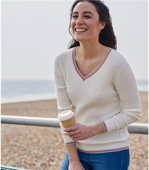 Womens Cotton Cashmere Tipped V Neck Cable Jumper