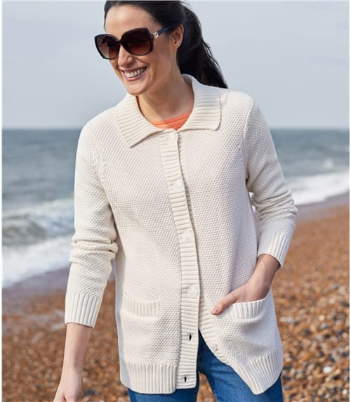 Womens Cotton Collared Button Cardigan