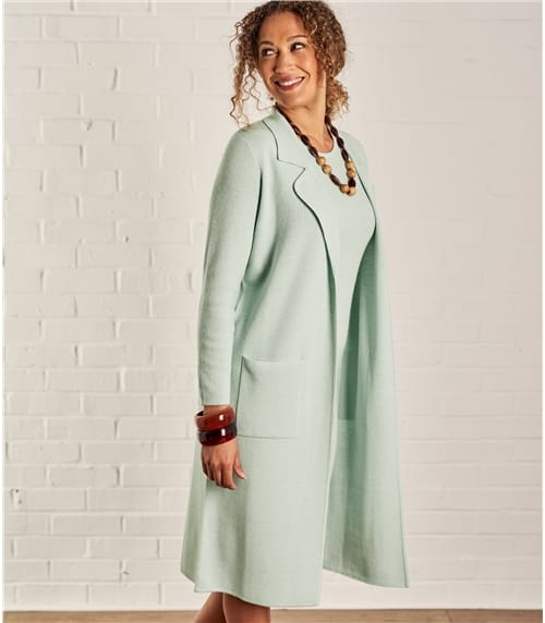 Womens Milano Lapel Collar Long Jacket