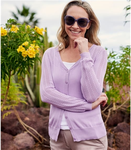Womens Cotton Blend Pointelle V Neck Cardigan