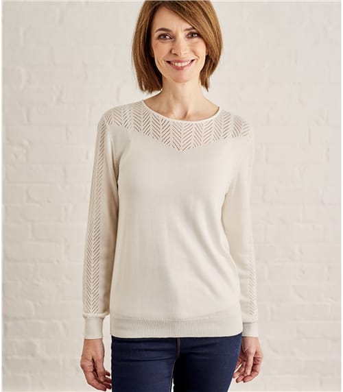 Womens Cotton Blend Pointelle Panel Sweater