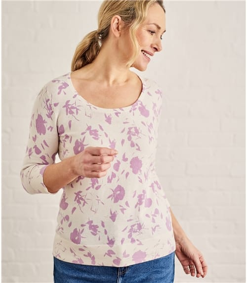 Womens Floral Printed Scoop Neck Sweater