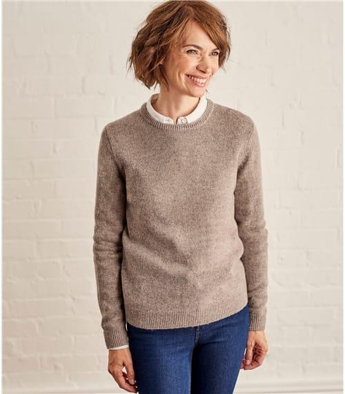 Pullover mit Rundhalsausschnitt aus Lammwolle für Damen