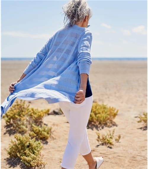 Womens Cotton Hidden Stripe Cardigan
