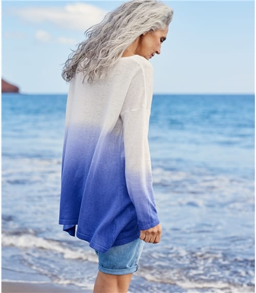 Womens Cotton Blend Dip Dye Sweater