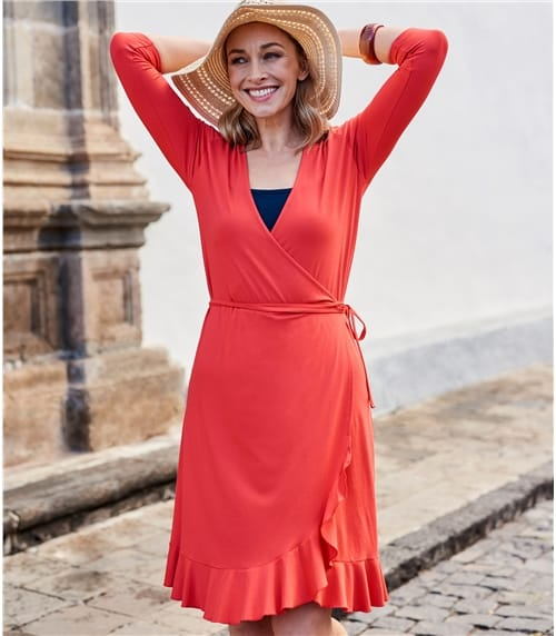 Womens Frill Wrap Dress
