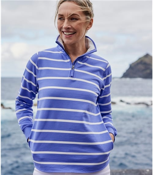 Sweat-shirt à col zippé - Femme - Jersey