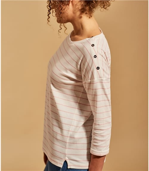 Womens Drop Shoulder Button Oversized Tee