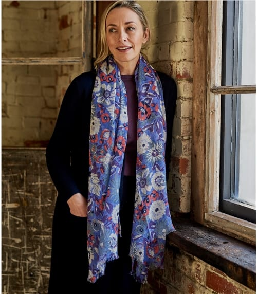 Grosszügiger Schal mit buntem Blumenmuster aus reiner Wolle für Damen