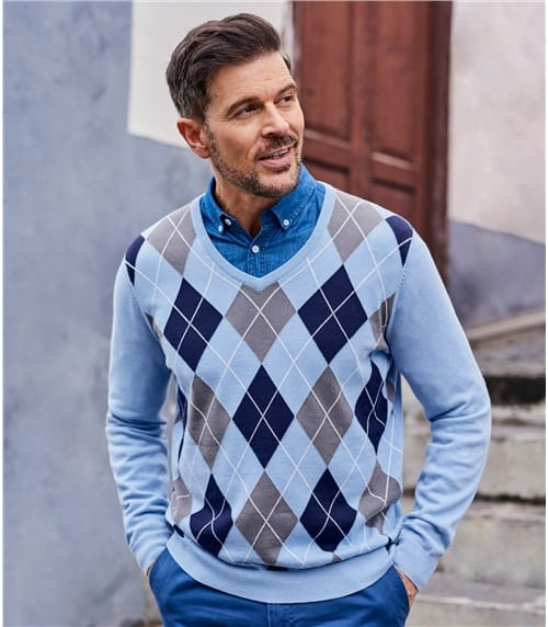 Mens Argyle V Neck Jumper