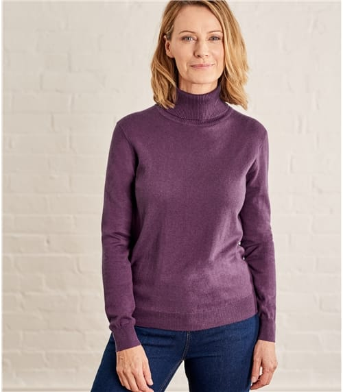 Womens Silk and Cotton Turtle Neck Sweater