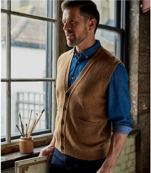 Mens Lambswool Knitted Waistcoat