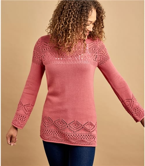 Womens 100% Cotton Pointelle Crew Neck Jumper
