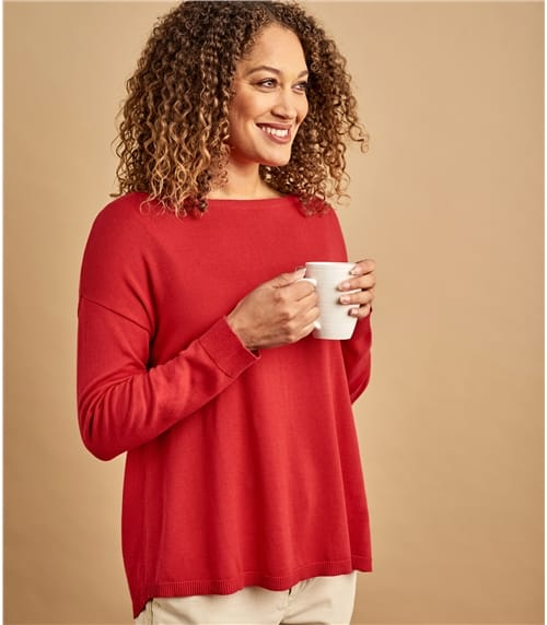 Womens Cotton Blend Curved Hem Jumper