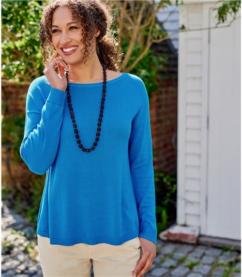 Pullover mit geschwungener Saum aus Wollmischung für Damen