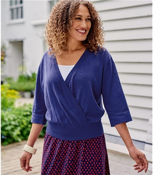 Womens Linen & Cotton Blend Kimono Sleeve Top