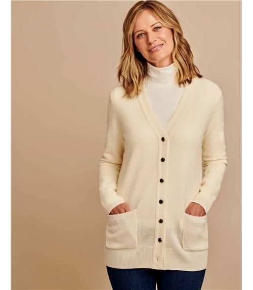 Strickjacke mit V-Ausschnitt aus Lammwolle für Damen