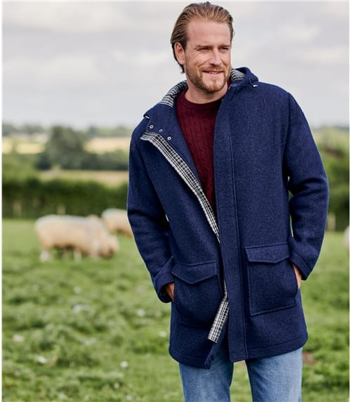 Mens Boiled Wool Hooded Coat
