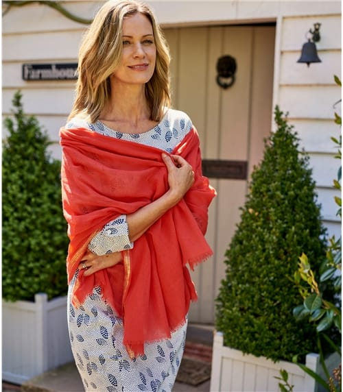 Foulard bordure lurex - Femme - Laine mélangée