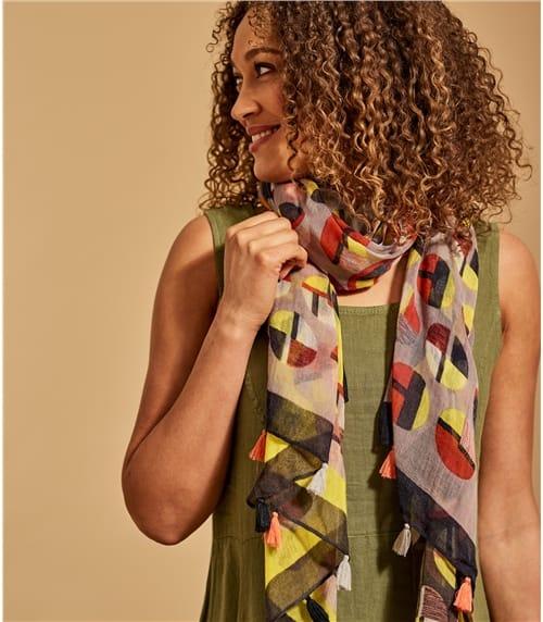 Fransen-Schal mit geometrischem Print aus Wolle für Damen