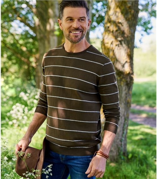 Mens 100% Cotton Wide Stripe Sweater