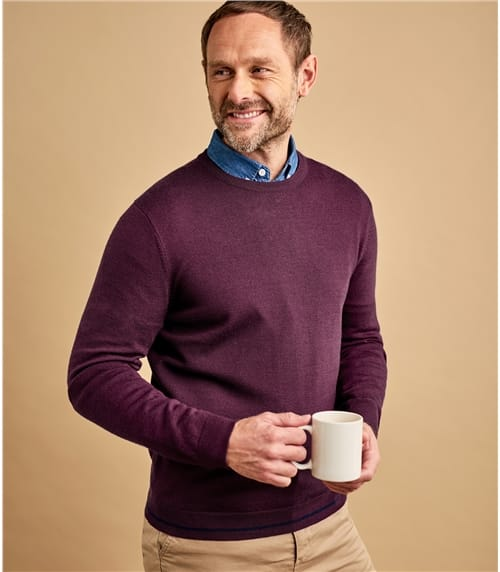 Mens 100% Merino Tipped Crew Neck Jumper