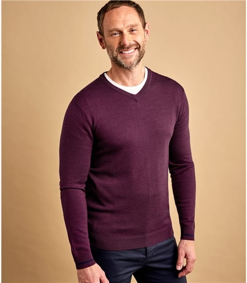 Mens 100% Merino Tipped V Neck Jumper