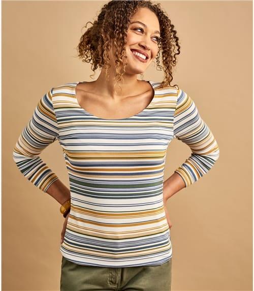 Jersey T-Shirt mit U-Ausschnitt und 3/4 Ärmeln aus Viskose mit geringem Elastananteil für Damen