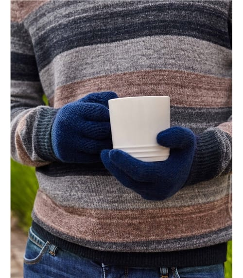 Mens Pure Cashmere Ribbed Gloves