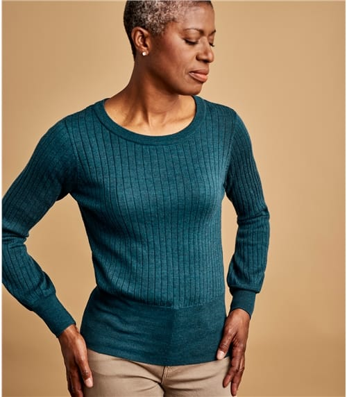 Womens Pure Merino Rib Sweater With Puff Sleeve